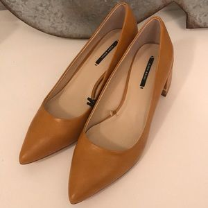 ZARA block heel close toe pump
